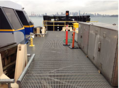Pultruded Fiberglass Grating installed at the SeaBus Terminal in North Vancouver, B.C. We stock a range of pultruded grating profiles in different colors.