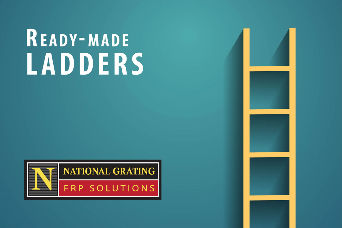 ready-made frp ladders in safety yellow - in stock and ready to ship